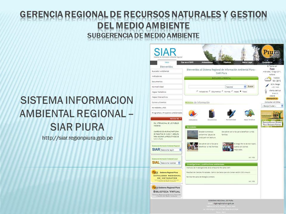 SISTEMA INFORMACION AMBIENTAL REGIONAL – SIAR PIURA http://siar.regionpiura.gob.pe