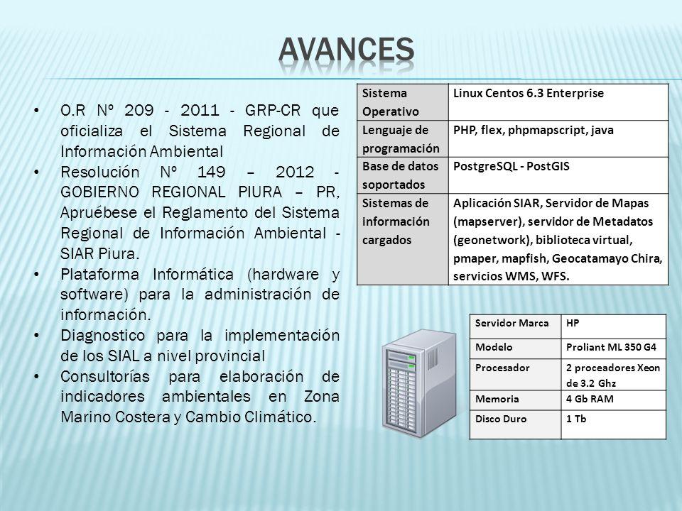 O.R Nº 209 - 2011 - GRP-CR que oficializa el Sistema Regional de Información Ambiental Resolución Nº 149 – 2012 - GOBIERNO REGIONAL PIURA – PR, Apruéb