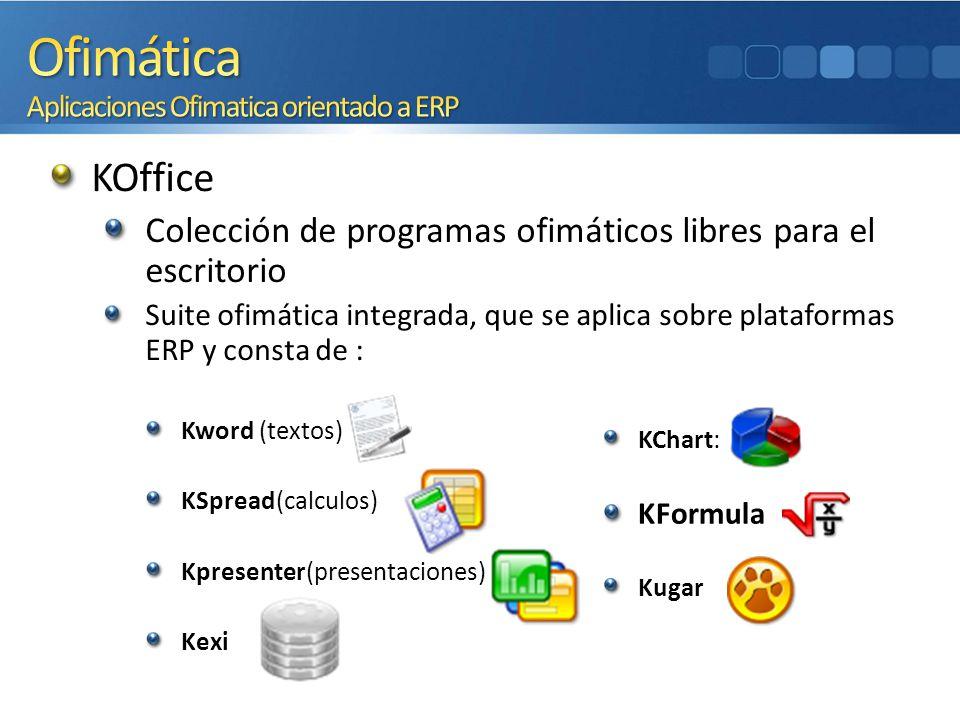 KOffice Colección de programas ofimáticos libres para el escritorio Suite ofimática integrada, que se aplica sobre plataformas ERP y consta de : Kword
