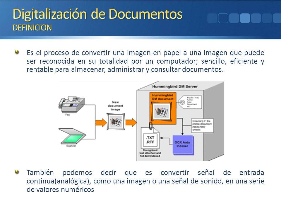 Es el proceso de convertir una imagen en papel a una imagen que puede ser reconocida en su totalidad por un computador; sencillo, eficiente y rentable