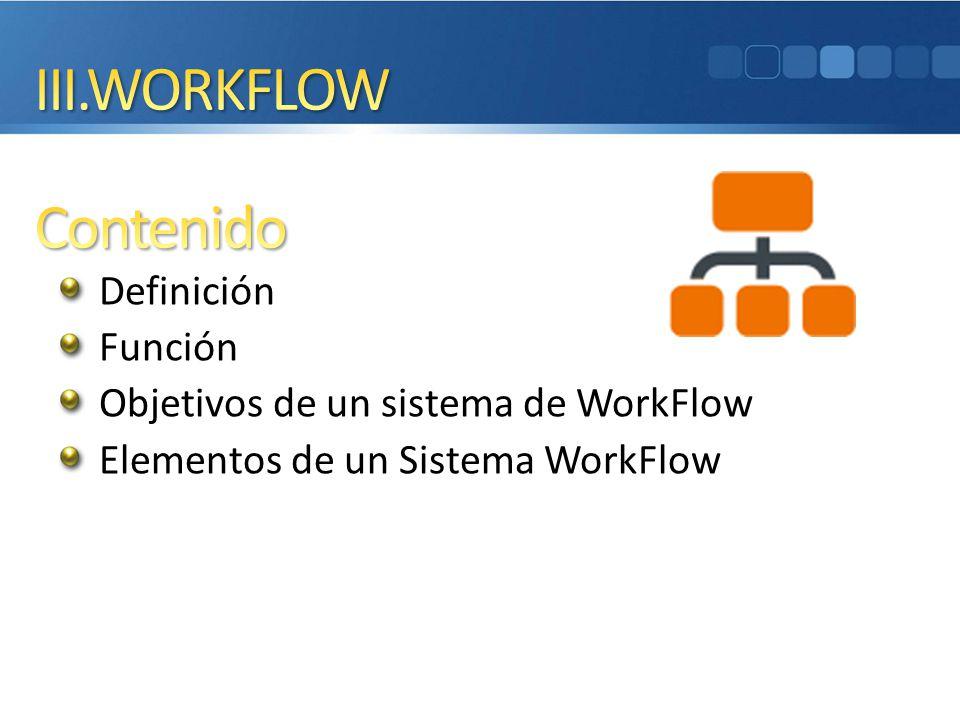Definición Función Objetivos de un sistema de WorkFlow Elementos de un Sistema WorkFlow