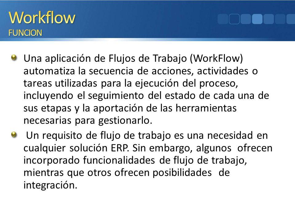 Una aplicación de Flujos de Trabajo (WorkFlow) automatiza la secuencia de acciones, actividades o tareas utilizadas para la ejecución del proceso, inc