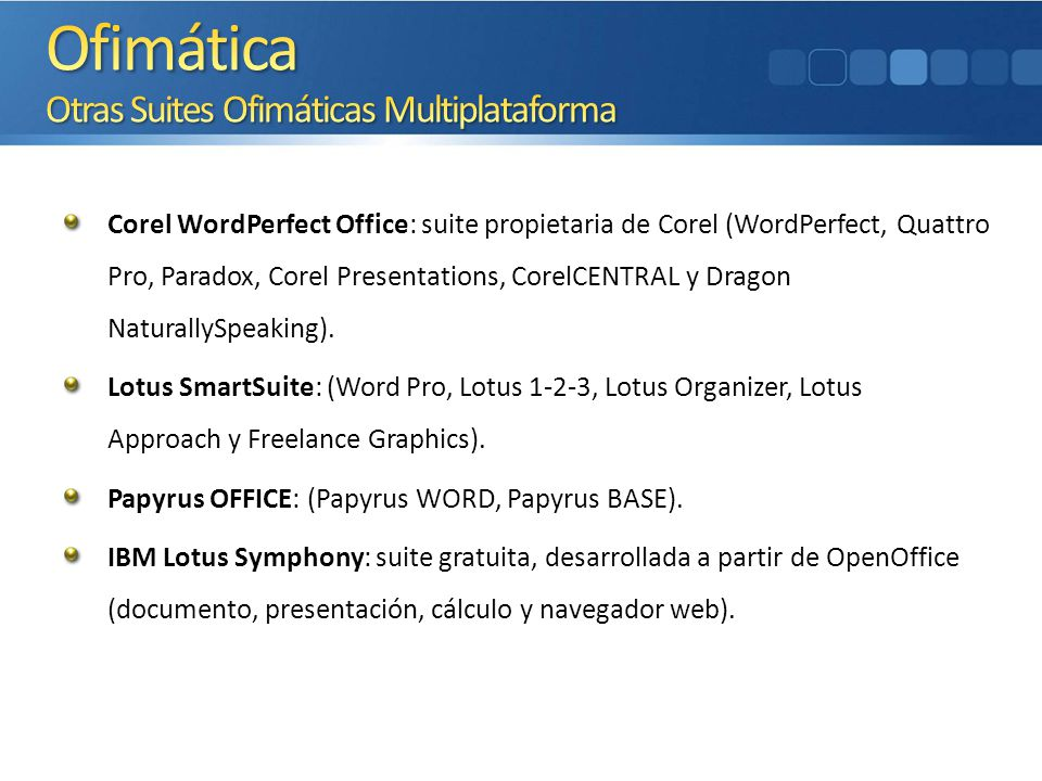 Corel WordPerfect Office: suite propietaria de Corel (WordPerfect, Quattro Pro, Paradox, Corel Presentations, CorelCENTRAL y Dragon NaturallySpeaking)