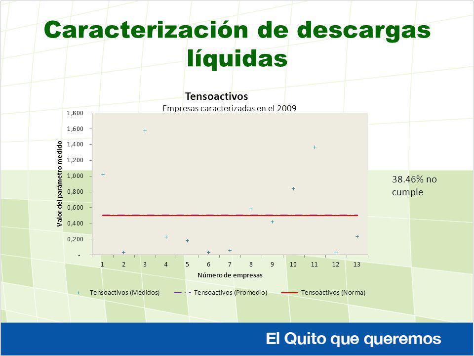 38.46% no cumple Caracterización de descargas líquidas