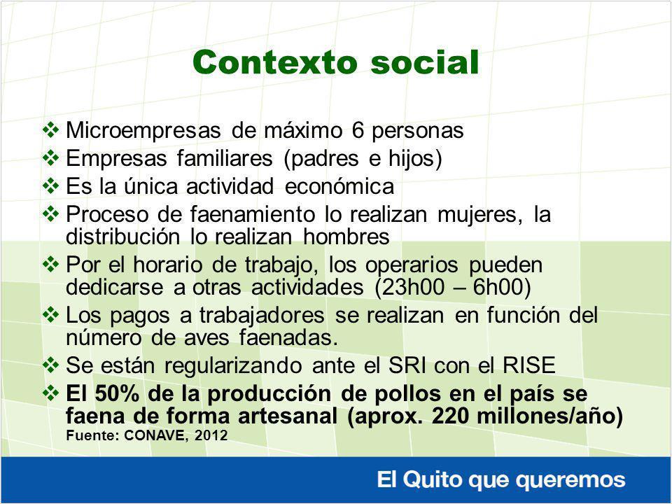 Contexto social Microempresas de máximo 6 personas Empresas familiares (padres e hijos) Es la única actividad económica Proceso de faenamiento lo real