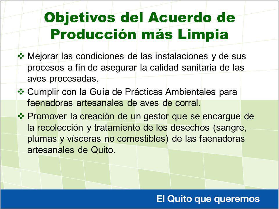 Objetivos del Acuerdo de Producción más Limpia Mejorar las condiciones de las instalaciones y de sus procesos a fin de asegurar la calidad sanitaria d