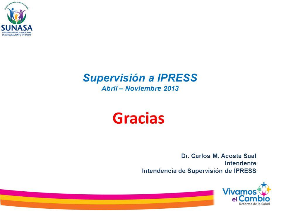 Supervisión a IPRESS Abril – Noviembre 2013 Dr. Carlos M. Acosta Saal Intendente Intendencia de Supervisión de IPRESS Gracias