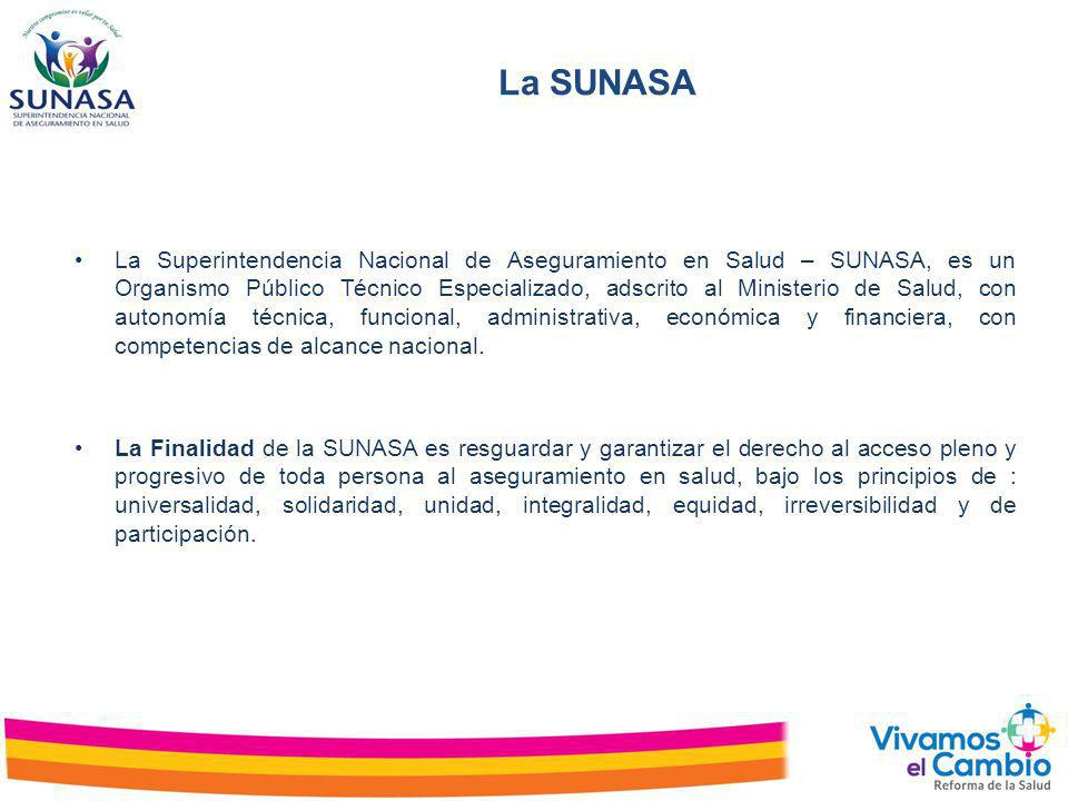 La SUNASA La Superintendencia Nacional de Aseguramiento en Salud – SUNASA, es un Organismo Público Técnico Especializado, adscrito al Ministerio de Sa