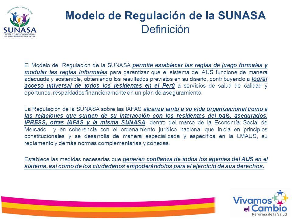 Modelo de Regulación de la SUNASA Definición El Modelo de Regulación de la SUNASA permite establecer las reglas de juego formales y modular las reglas