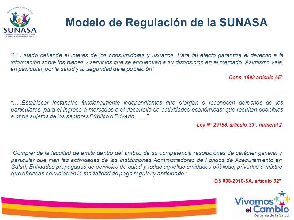 Modelo de Regulación de la SUNASA Comprende la facultad de emitir dentro del ámbito de su competencia resoluciones de carácter general y particular qu