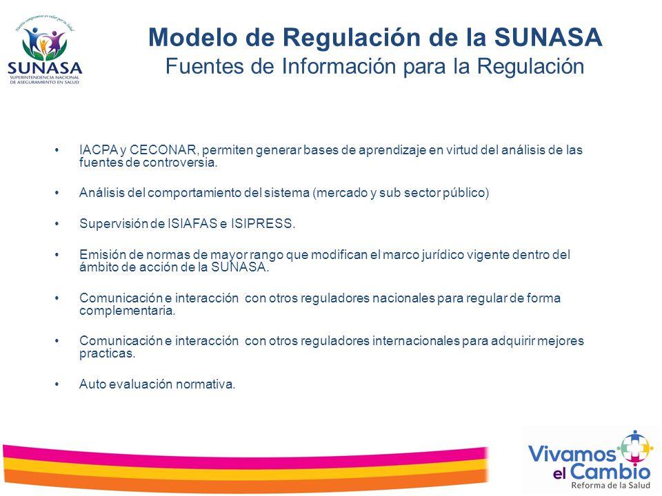 Modelo de Regulación de la SUNASA Fuentes de Información para la Regulación IACPA y CECONAR, permiten generar bases de aprendizaje en virtud del análi