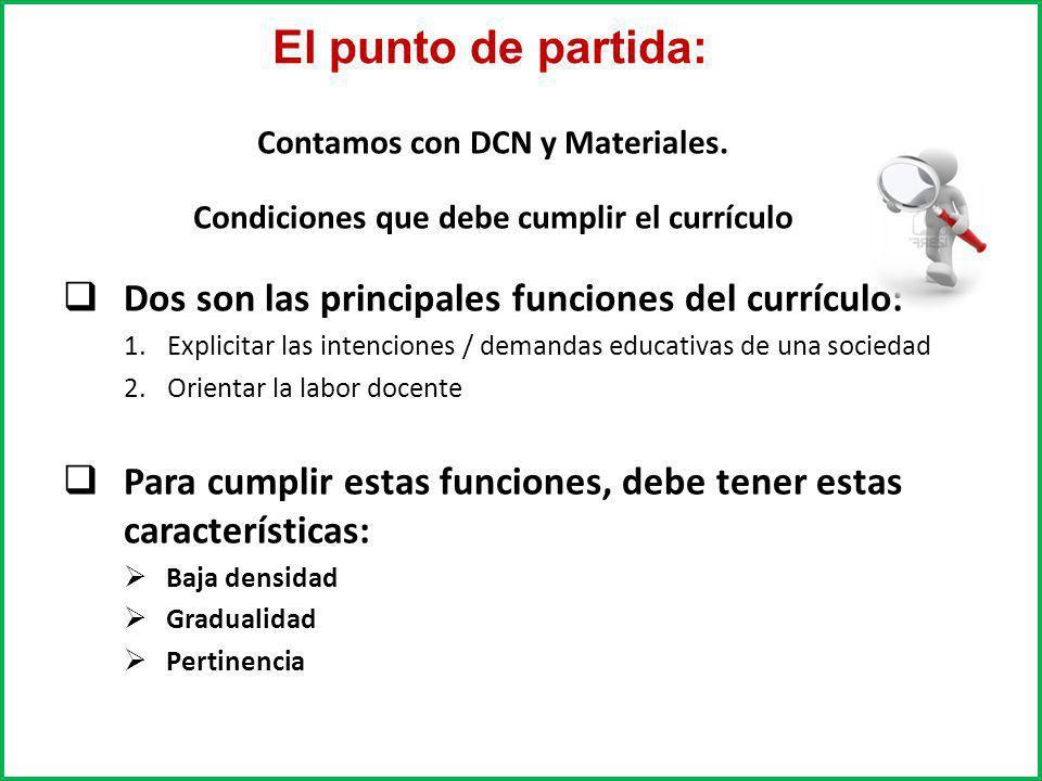Contamos con DCN y Materiales. Condiciones que debe cumplir el currículo Dos son las principales funciones del currículo: 1.Explicitar las intenciones