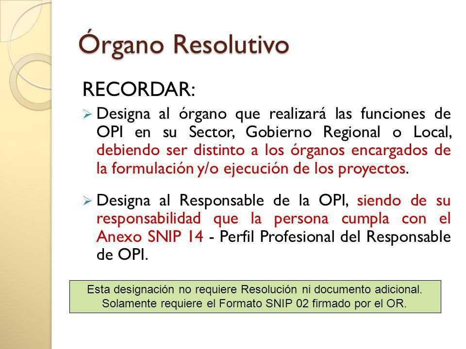 Órgano Resolutivo RECORDAR: Designa al órgano que realizará las funciones de OPI en su Sector, Gobierno Regional o Local, debiendo ser distinto a los órganos encargados de la formulación y/o ejecución de los proyectos.