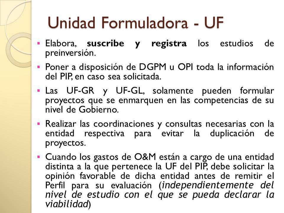 Unidad Formuladora - UF Elabora, suscribe y registra los estudios de preinversión. Poner a disposición de DGPM u OPI toda la información del PIP, en c