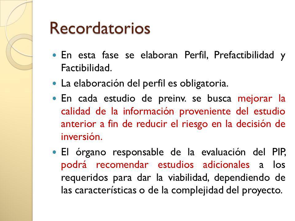 Recordatorios En esta fase se elaboran Perfil, Prefactibilidad y Factibilidad. La elaboración del perfil es obligatoria. En cada estudio de preinv. se