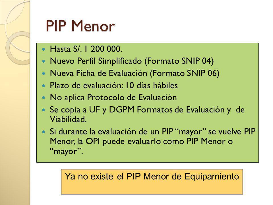 PIP Menor Hasta S/. 1 200 000. Nuevo Perfil Simplificado (Formato SNIP 04) Nueva Ficha de Evaluación (Formato SNIP 06) Plazo de evaluación: 10 días há