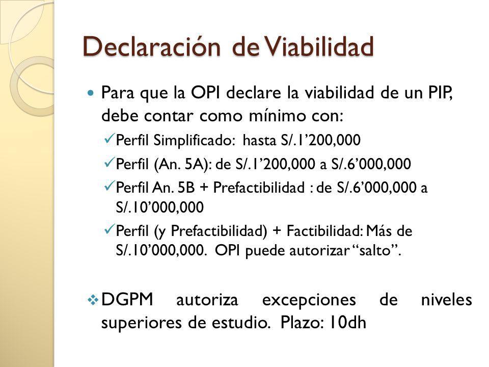 Declaración de Viabilidad Para que la OPI declare la viabilidad de un PIP, debe contar como mínimo con: Perfil Simplificado: hasta S/.1200,000 Perfil