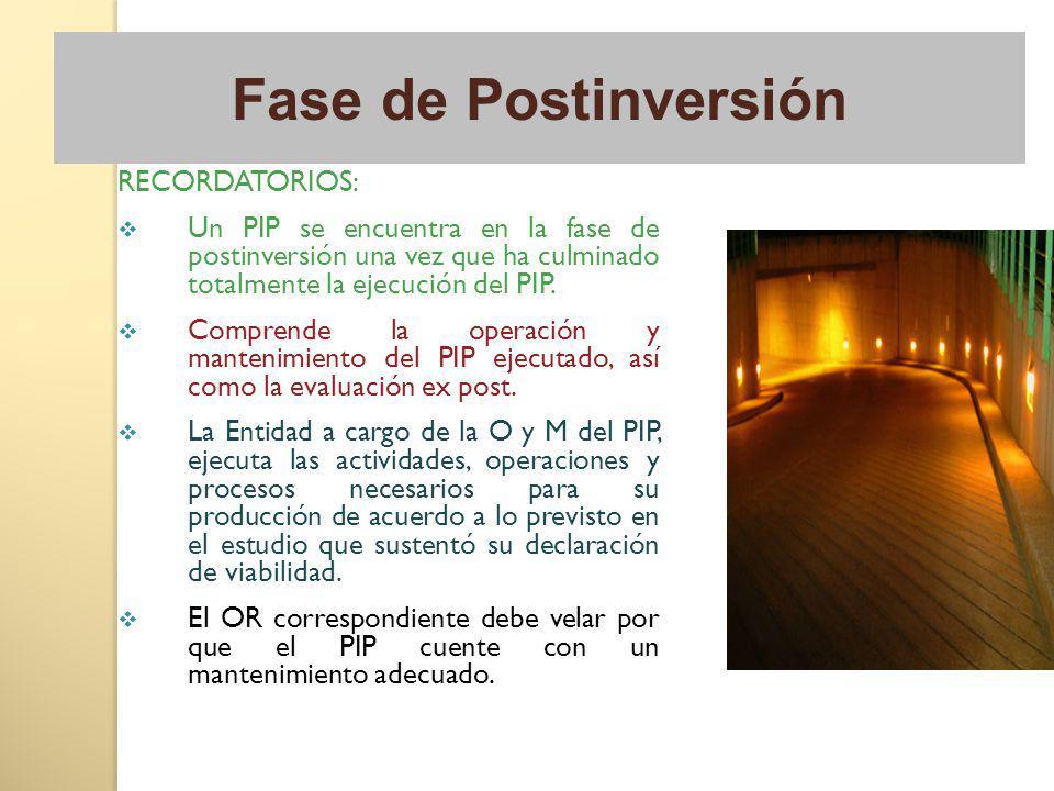 RECORDATORIOS: Un PIP se encuentra en la fase de postinversión una vez que ha culminado totalmente la ejecución del PIP. Comprende la operación y mant