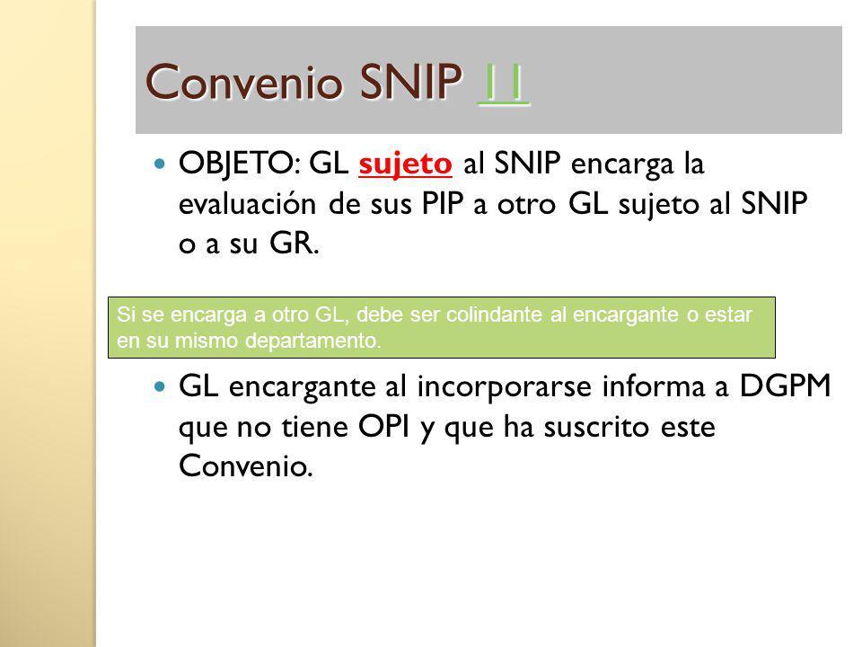 Convenio SNIP 11 11 OBJETO: GL sujeto al SNIP encarga la evaluación de sus PIP a otro GL sujeto al SNIP o a su GR. GL encargante al incorporarse infor