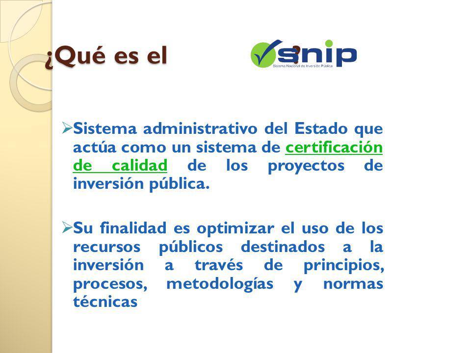 ¿Qué es el ? Sistema administrativo del Estado que actúa como un sistema de certificación de calidad de los proyectos de inversión pública. Su finalid