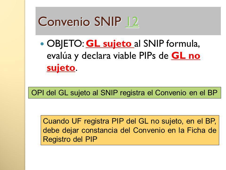 Convenio SNIP 12 12 OBJETO: GL sujeto al SNIP formula, evalúa y declara viable PIPs de GL no sujeto. OPI del GL sujeto al SNIP registra el Convenio en