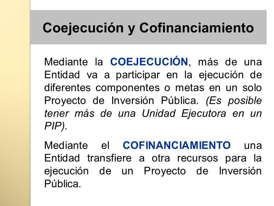 Mediante la COEJECUCIÓN, más de una Entidad va a participar en la ejecución de diferentes componentes o metas en un solo Proyecto de Inversión Pública