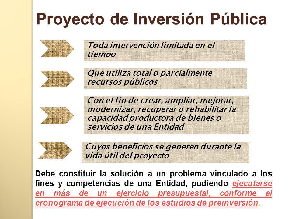 Toda intervención limitada en el tiempo Que utiliza total o parcialmente recursos públicos Con el fin de crear, ampliar, mejorar, modernizar, recupera