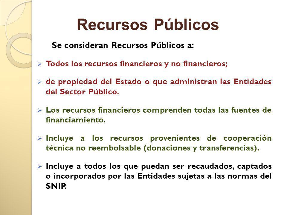 Se consideran Recursos Públicos a: Todos los recursos financieros y no financieros; de propiedad del Estado o que administran las Entidades del Sector