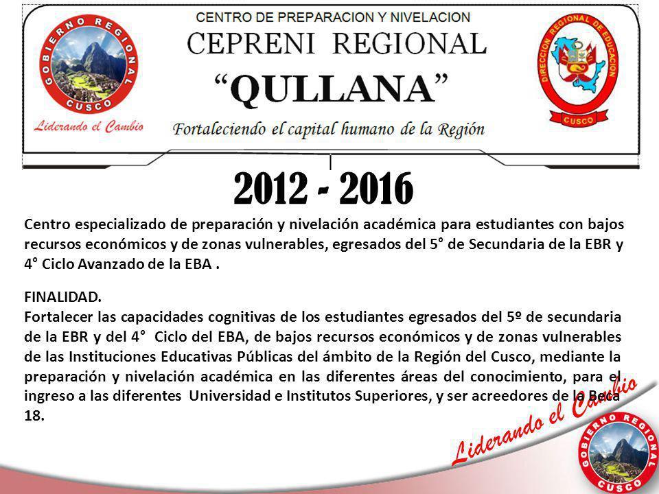 Liderando el Cambio 2012 - 2016 FINALIDAD. Fortalecer las capacidades cognitivas de los estudiantes egresados del 5º de secundaria de la EBR y del 4°