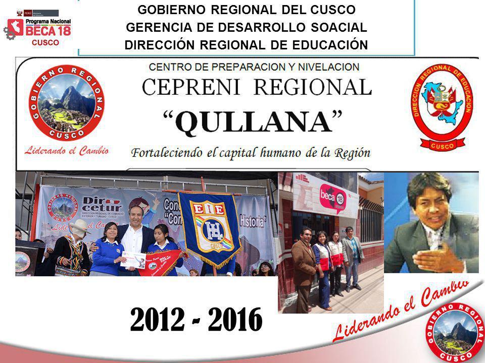 Liderando el Cambio 2012 - 2016 GOBIERNO REGIONAL DEL CUSCO GERENCIA DE DESARROLLO SOACIAL DIRECCIÓN REGIONAL DE EDUCACIÓN