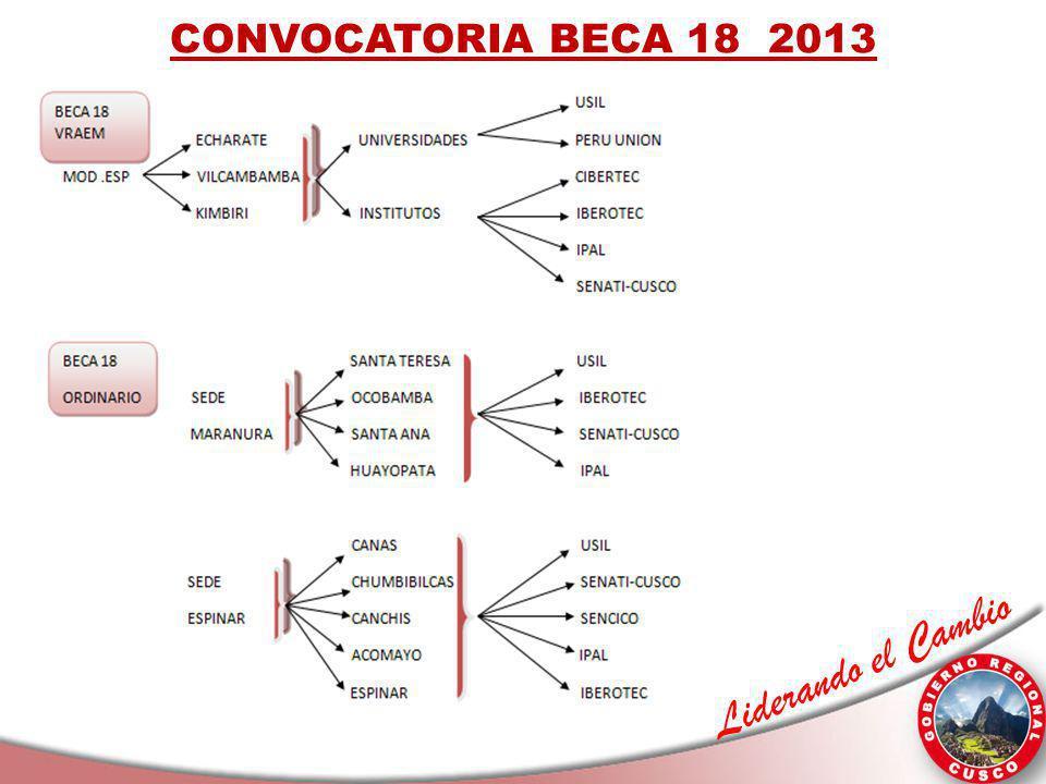 Liderando el Cambio CONVOCATORIA BECA 18 2013