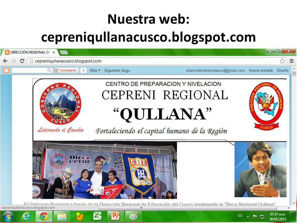 Liderando el Cambio Nuestra web: cepreniqullanacusco.blogspot.com