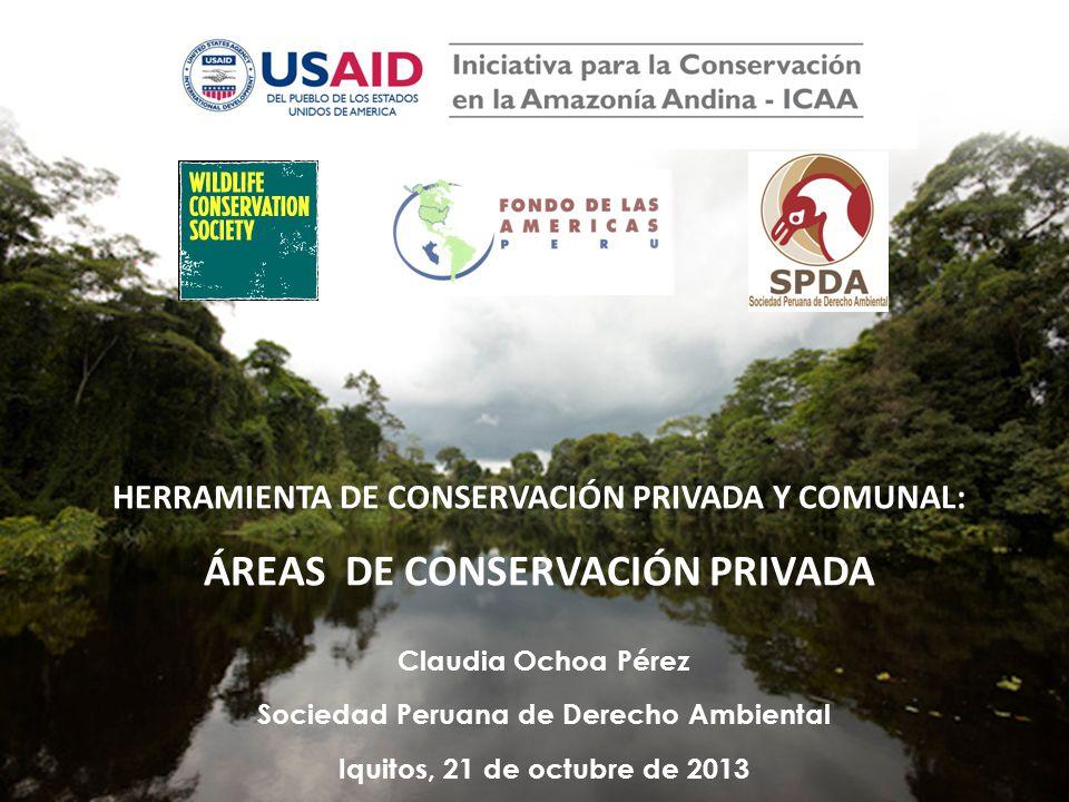 HERRAMIENTA DE CONSERVACIÓN PRIVADA Y COMUNAL: ÁREAS DE CONSERVACIÓN PRIVADA Claudia Ochoa Pérez Sociedad Peruana de Derecho Ambiental Iquitos, 21 de