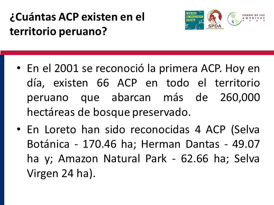 ¿Cuántas ACP existen en el territorio peruano? En el 2001 se reconoció la primera ACP. Hoy en día, existen 66 ACP en todo el territorio peruano que ab