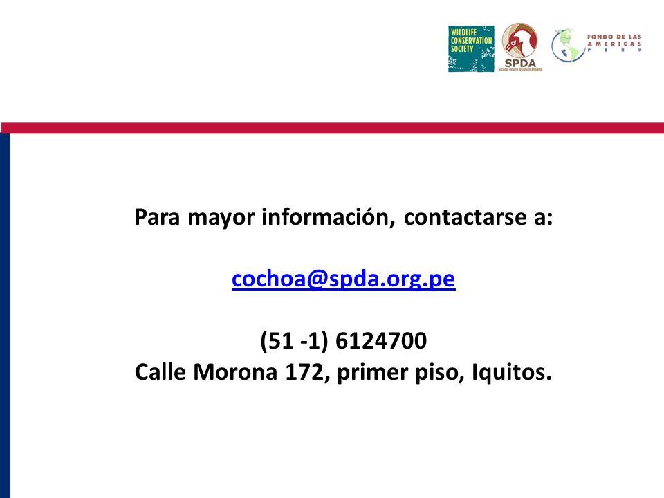 Para mayor información, contactarse a: cochoa@spda.org.pe (51 -1) 6124700 Calle Morona 172, primer piso, Iquitos.