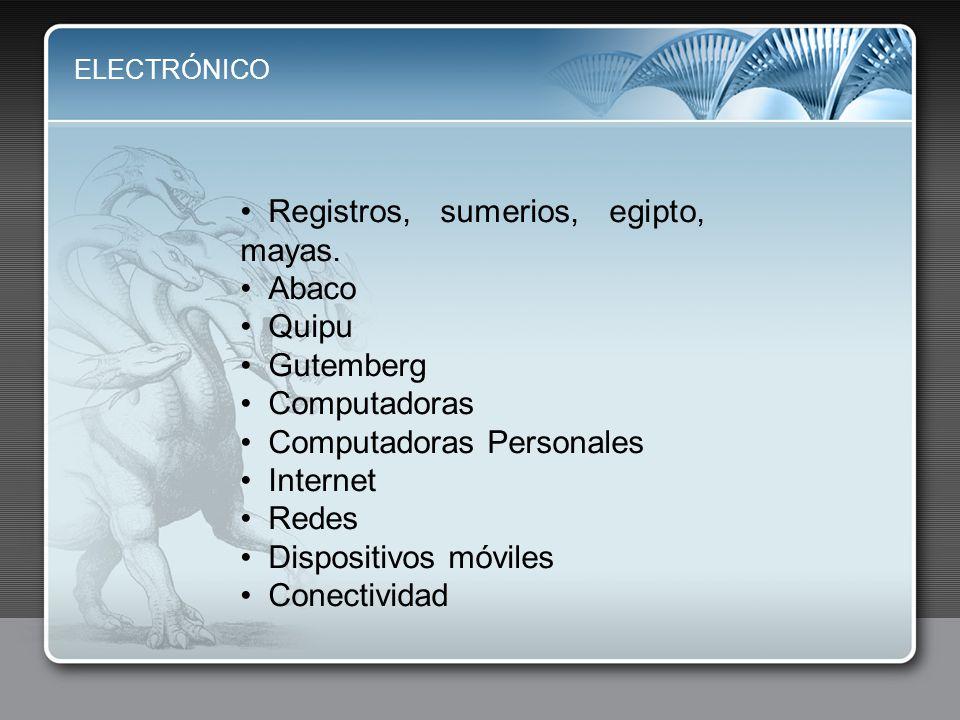 ELECTRÓNICO Registros, sumerios, egipto, mayas. Abaco Quipu Gutemberg Computadoras Computadoras Personales Internet Redes Dispositivos móviles Conecti