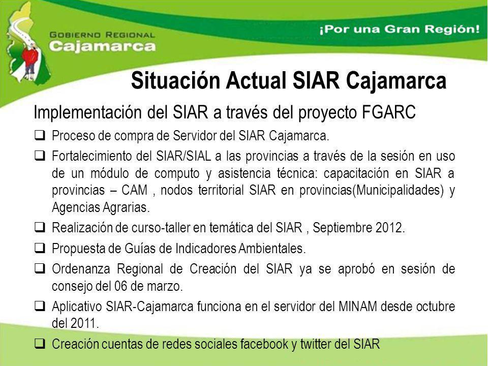 Situación Actual SIAR Cajamarca Implementación del SIAR a través del proyecto FGARC Proceso de compra de Servidor del SIAR Cajamarca. Fortalecimiento
