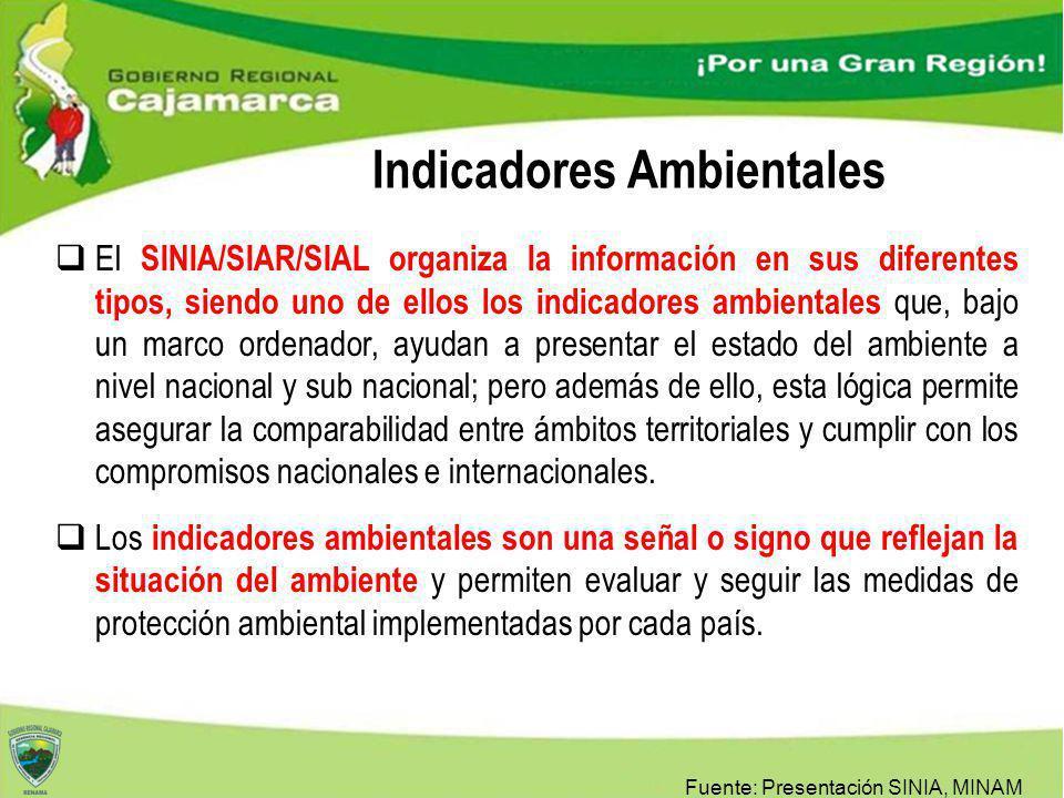 El SINIA/SIAR/SIAL organiza la información en sus diferentes tipos, siendo uno de ellos los indicadores ambientales que, bajo un marco ordenador, ayud