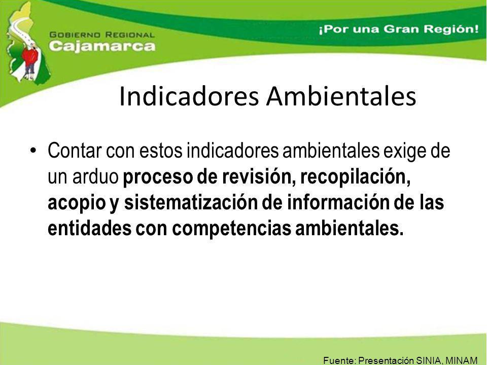 Indicadores Ambientales Contar con estos indicadores ambientales exige de un arduo proceso de revisión, recopilación, acopio y sistematización de info