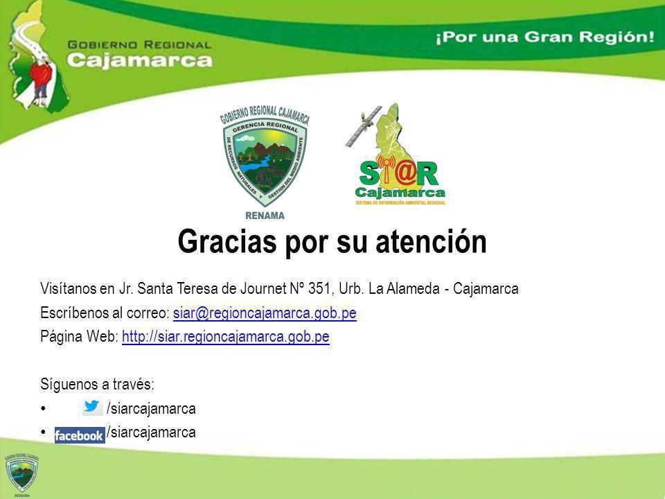 Visítanos en Jr. Santa Teresa de Journet Nº 351, Urb. La Alameda - Cajamarca Escríbenos al correo: siar@regioncajamarca.gob.pesiar@regioncajamarca.gob