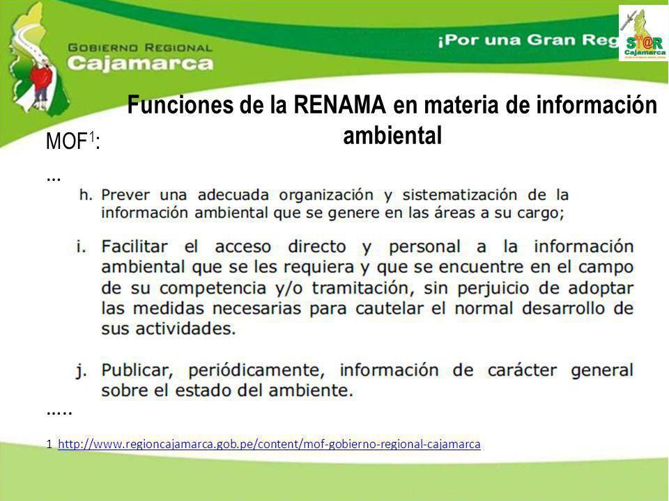 Funciones de la RENAMA en materia de información ambiental MOF 1 : … ….. 1 http://www.regioncajamarca.gob.pe/content/mof-gobierno-regional-cajamarca h