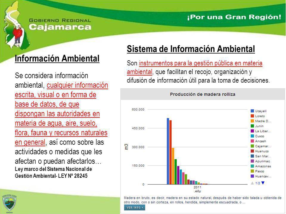 Información Ambiental Son instrumentos para la gestión pública en materia ambiental, que facilitan el recojo, organización y difusión de información ú