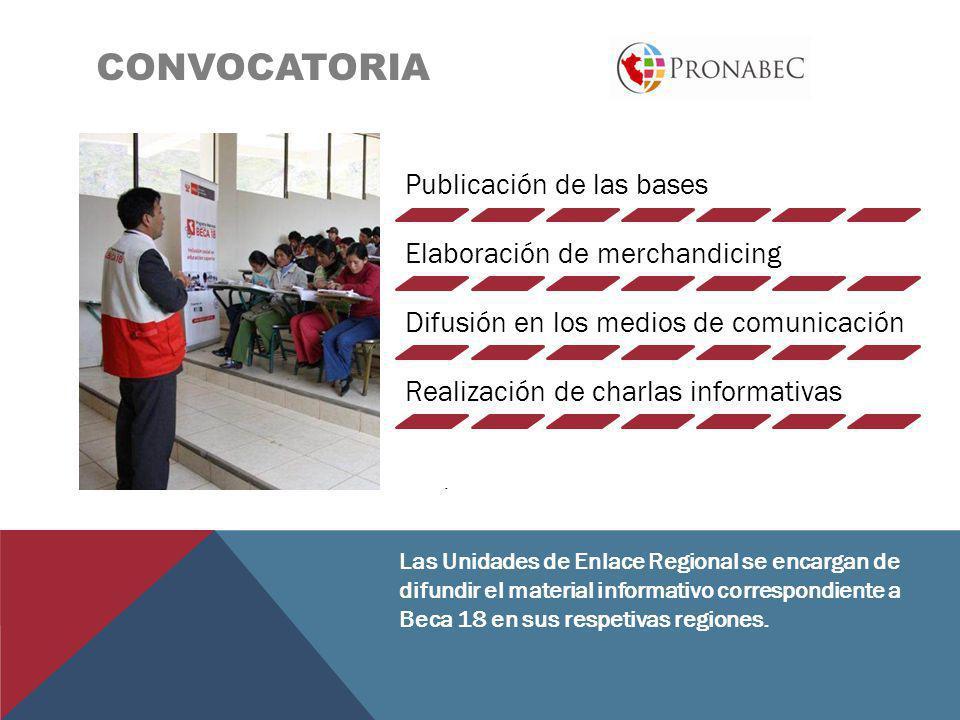 CONVOCATORIA. Las Unidades de Enlace Regional se encargan de difundir el material informativo correspondiente a Beca 18 en sus respetivas regiones. Pu