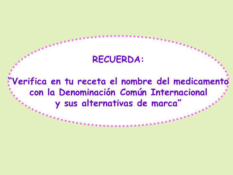 RECUERDA: Verifica en tu receta el nombre del medicamento con la Denominación Común Internacional y sus alternativas de marca