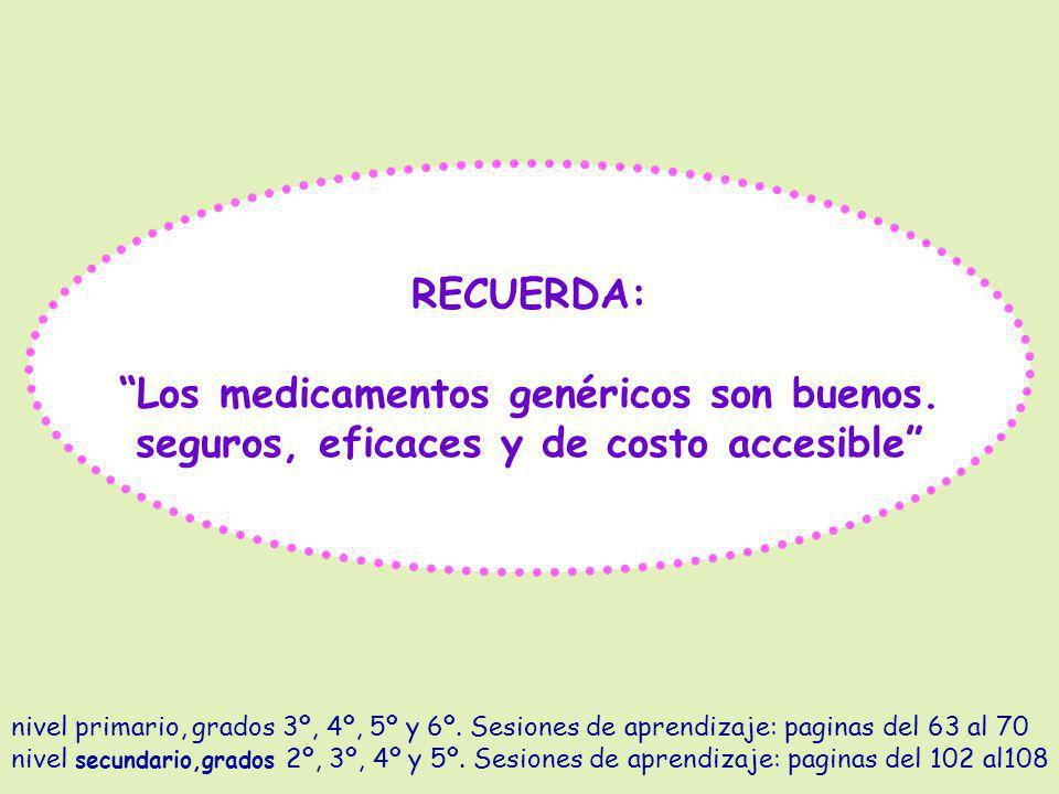 RECUERDA: Los medicamentos genéricos son buenos. seguros, eficaces y de costo accesible nivel primario, grados 3º, 4º, 5º y 6º. Sesiones de aprendizaj