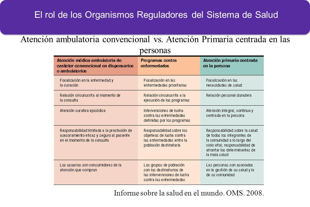Informe sobre la salud en el mundo.OMS. 2008. Atención ambulatoria convencional vs.