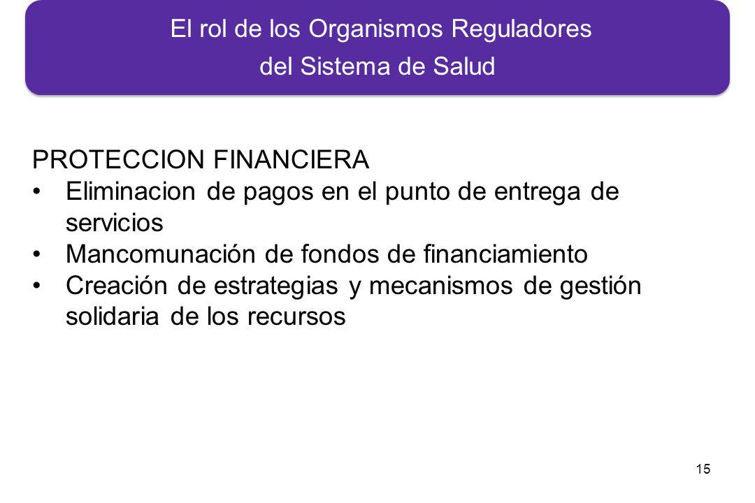 15 El rol de los Organismos Reguladores del Sistema de Salud PROTECCION FINANCIERA Eliminacion de pagos en el punto de entrega de servicios Mancomunación de fondos de financiamiento Creación de estrategias y mecanismos de gestión solidaria de los recursos
