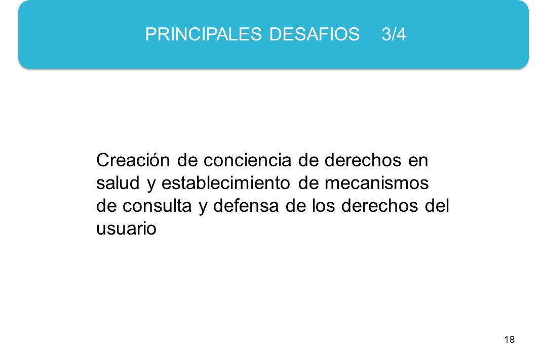 18 PRINCIPALES DESAFIOS 3/4 Creación de conciencia de derechos en salud y establecimiento de mecanismos de consulta y defensa de los derechos del usuario