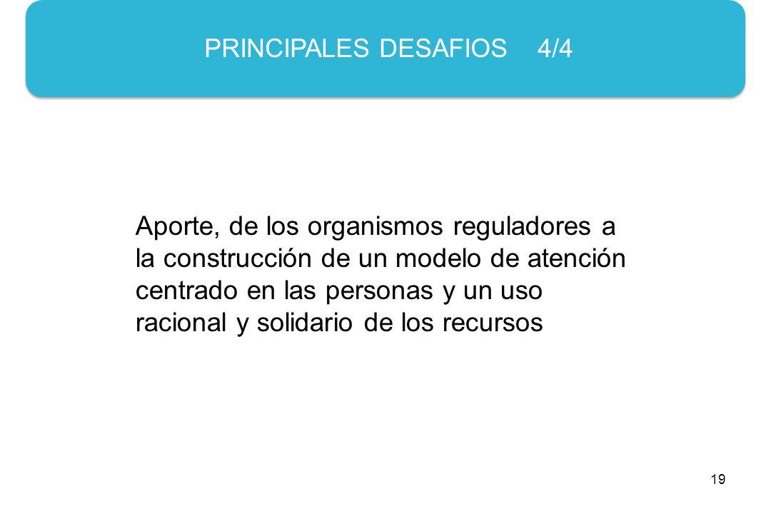 19 PRINCIPALES DESAFIOS 4/4 Aporte, de los organismos reguladores a la construcción de un modelo de atención centrado en las personas y un uso racional y solidario de los recursos
