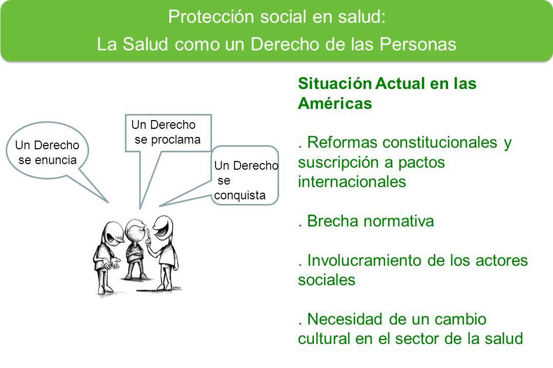 Un Derecho se enuncia Un Derecho se proclama Un Derecho se conquista Protección social en salud: La Salud como un Derecho de las Personas Situación Actual en las Américas.
